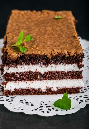custard slices: Slice of chocolate cake stuffed with whipped cream and crunchy topping Stock Photo
