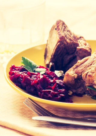 beets: Vintage photo of roasted ribs wirh beets