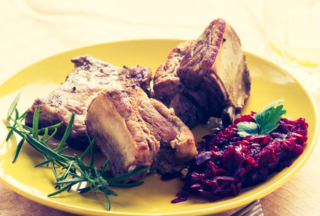 Vintage photo of roasted ribs wirh beets