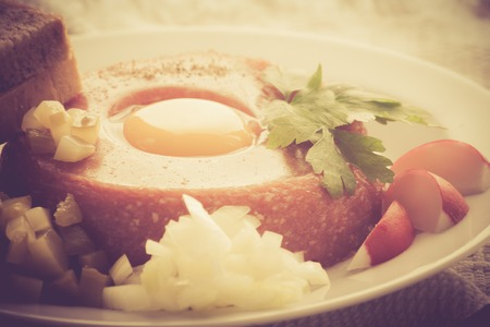 lomography: Vintage photo of beef tatar with egg yolk and spices