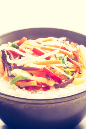 cros: Vintage photo of Chinese vegetable mix with rice Stock Photo
