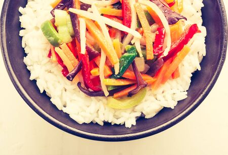 lomography: Vintage photo of Chinese vegetable mix with rice Stock Photo