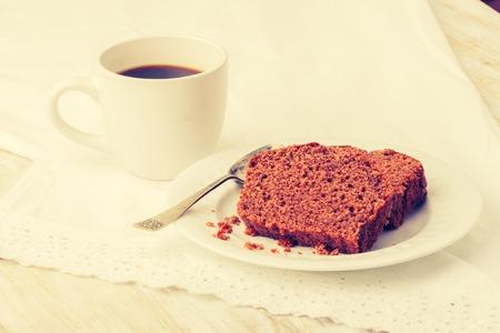 gingerbread cake: Vintage photo of soft homemade gingerbread cake and cup of coffee Stock Photo