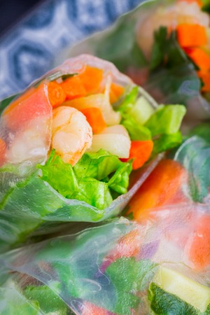 cuon: Spring rolls with vegetables and shrimp on a plate Stock Photo