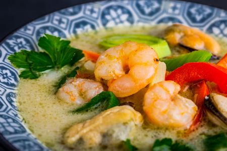 sour grass: Asian soup with prawns, Tom Yam Kung . Thai cuisine.