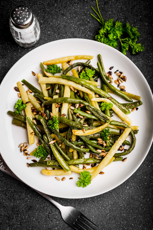 long bean: Fried green beans with sunflower seeds and parsley