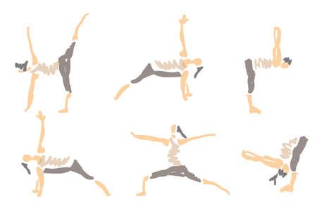 niyama: Vector Illustrated Sketched Yoga Asanas