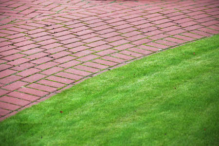 redbrick: Garden stone path with grass growing up between and around stones, Brick Sidewalk