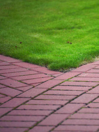 Garden stone path with grass growing up between and around stones, Brick Sidewalk photo