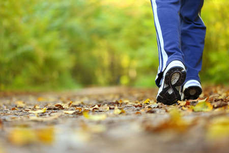 walk in the park: Woman walking cross country and trail in autumn forest