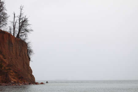 eroded: autumn baltic sea cliff in Orlowo, Gdynia Poland