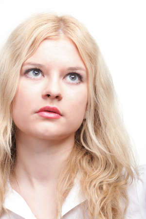 portrait of beautiful blonde woman white background Stock Photo - 11833351