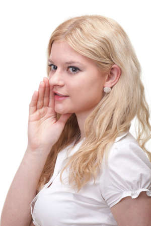 gesticulate: Business woman eavesdropping with hand behind her ear