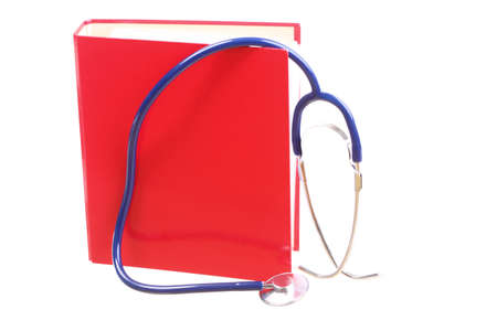 Blue stethoscope healthcare, instrument, isolated on white, red file folder, binder photo