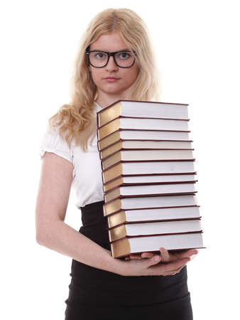 ttractive: girl with book - Beautiful young woman with books isolated on a white background