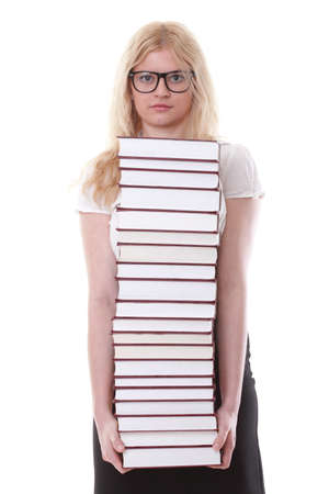 girl with book - Beautiful young woman with books isolated on a white background photo