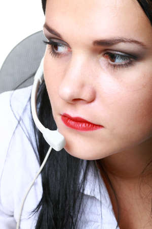 young brunette girl with headphones isolated photo