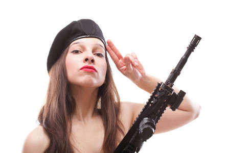Sexy women - Girl holding an Assault Rifle, isolated on white background Stock Photo - 12663331