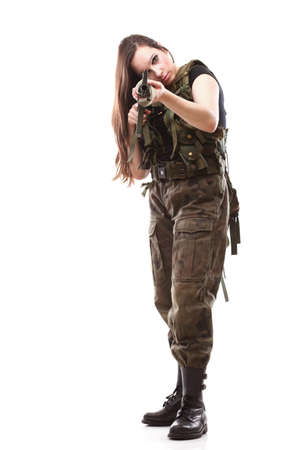camos: Military Army girl Holding Gun white isolated background