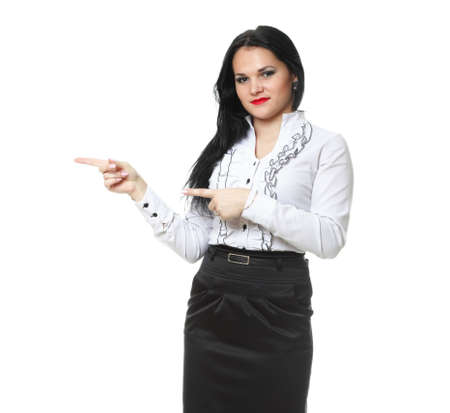 demonstrate: woman show demonstrate smiling modern business woman presenting something on empty hand isolated on white
