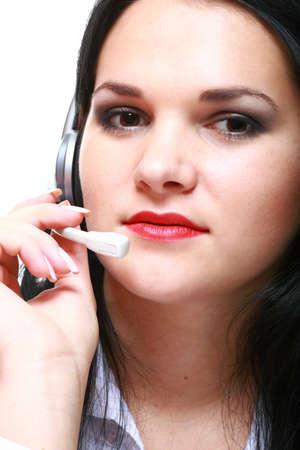 young brunette girl with headphones isolated Stock Photo - 12920903