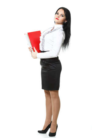 woman with red folder for documents on white background photo