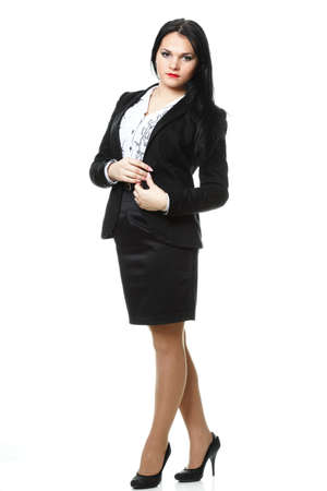 Full length portrait of smiling modern business woman photo