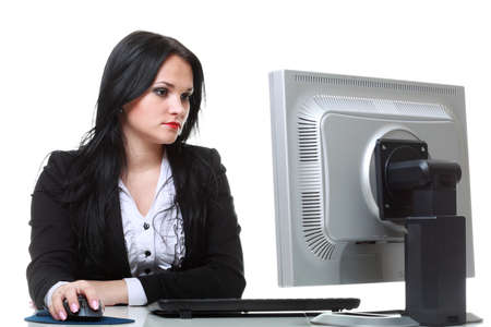 modern business woman sitting at office desk Stock Photo - 12920968