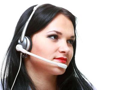 young brunette girl with headphones isolated Stock Photo - 12920972