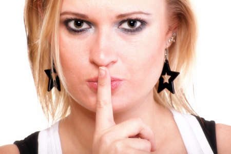 Young woman blonde girl asking for silence white isolated Stock Photo - 13326280