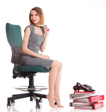 happy excited young businesswoman, relaxing in office chair, relax isolated on white Stock Photo - 13088874