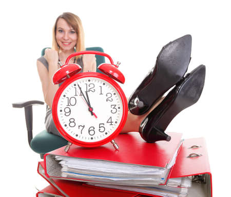 woman businesswoman holding plenty of documents isolated white red folder clock time Young relaxing legs up Stock Photo - 13088902