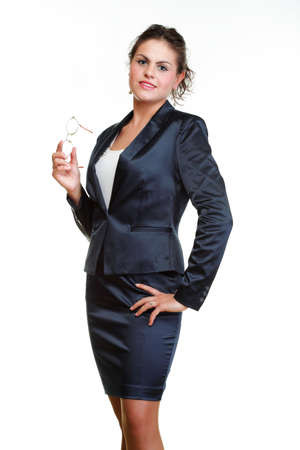 Modern business woman smiling and looking portrait isolated on white background. Stock Photo - 13150992