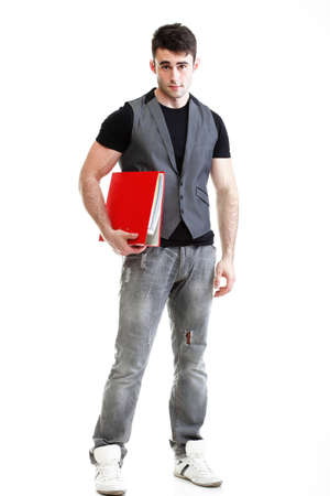 Portrait of young, successful, happy male student. Isolated on white background. photo