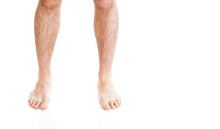 male hairy legs isolated on white background 写真素材