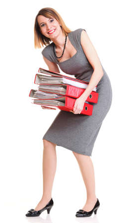 woman Overworked businesswoman holding plenty of documents isolated white red folder photo