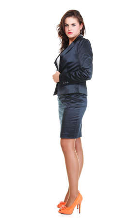 Modern business woman smiling and looking, full length portrait isolated on white background. Stock Photo - 13258168