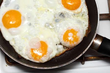 pan full of scramble eggs in a frying pan Stock Photo - 13250687
