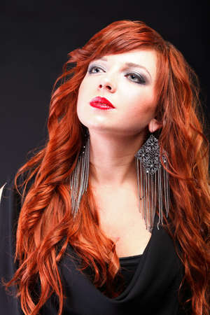 lovely redhead - Young beautiful red haired woman blue eye photo