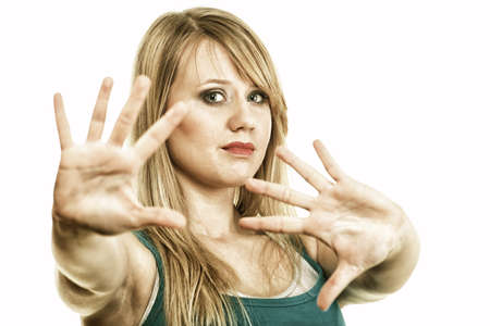 Emotional portrait of abused beautiful young blonde woman violence concept Stock Photo - 13326898