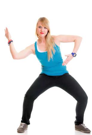 Zumba fitness donna esercita danza aerobica zumba classe in piena lunghezza isolato su sfondo bianco.