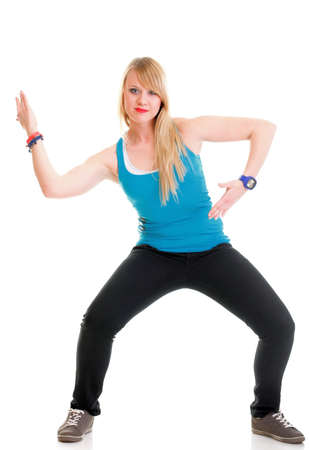 Zumba fitness woman exercising zumba dance class aerobics in full length isolated on white background.