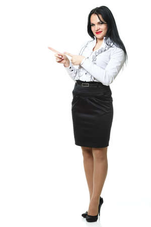 woman show demonstrate smiling modern business woman presenting something on empty hand isolated on white Stock Photo - 13382463