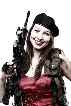waist shot: Sexy women - Girl holding an Assault Rifle, islated on white background