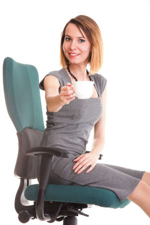 happy excited young businesswoman, relaxing in office chair, relax isolated on white photo