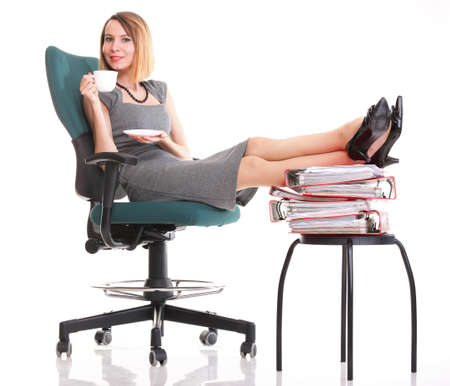 woman businesswoman holding plenty of documents isolated white red folder clock time Young relaxing legs up Stock Photo - 13552536