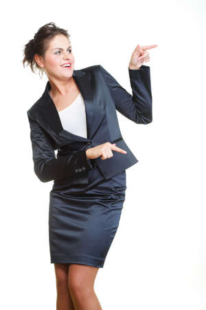 Smiling business woman presenting. Isolated over white background photo