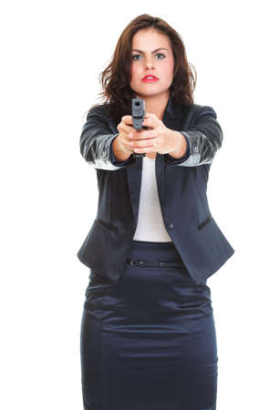 Young brunette woman with gun isolated on white Stock Photo