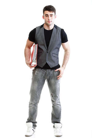 leisure wear: Portrait of young, successful, happy male student. Isolated on white background. Stock Photo