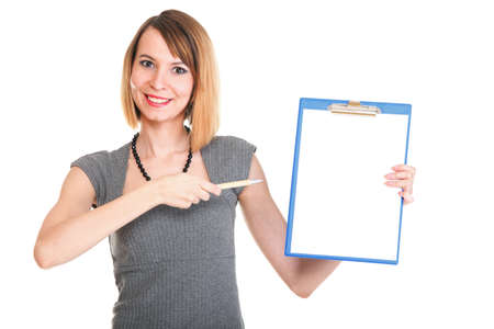 young business woman standing with her clipboard isolated on white background Stock Photo - 13644193